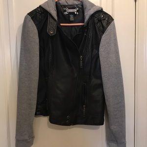 Daytrip leather jacket/grey sweatshirt size medium